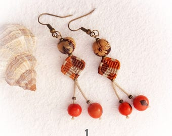 macrame earrings, acai earrings, handcrafted earrings, jewel for the beach