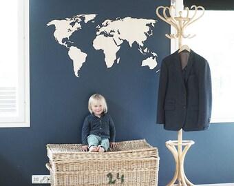 World map wooden birch