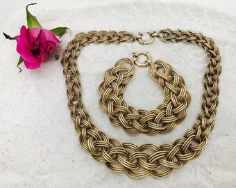Rare Vintage OT 925 Turkey Sterling Silver Gold Braided Necklace and Bracelet Set | Free Shipping
