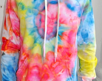 Rainbow Hippie Tiedye Hoodie Spiral Watercolor / Clothing Gift for Her Valentines Day Gift for Him / Cotton