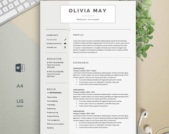 Modern Resume | Professional Resume | Resume Design | Resume | Creative Resume | CV Template + Cover Letter | 1, 2 Page Resume Template | CV