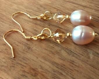 Lavender Pearl Earrings, Swarovski Crystal, Gold plated 925 Sterling Silver Dangle Drop Earrings, Dainty Pearl Earrings, Bridal