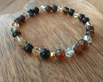 Cappuccino Agate Stretchy Bracelet, with Swarovski Crystals, Agate Bracelet, Agate Jewellery, Womens, Swarovski Bracelet, Agate Jewelry