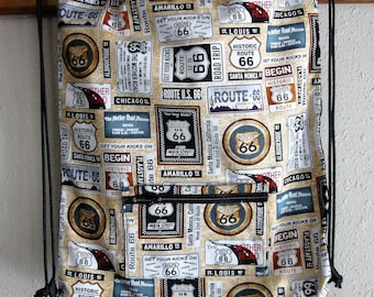Route 66 Drawstring Backpack