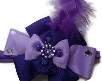 Hair Bow Headband Boutique Bow Accessory Purple Hair Bow Fancy Feather Hair Bow Headband Toddler Girls Headband Lavender Bow