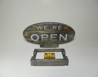 Wooden We're Open-Closed Sign with Business Card Box - with plastic letters