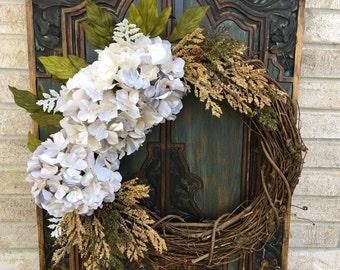 Everyday Hydrangea Wreath, Front Door Wreaths, Indoor and Outdoor Decor, White Hydrangea Wreaths