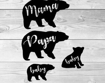 Mama Bear SVG Papa Bear SVG Baby Bear SVG Brother Bear Svg Sister Bear Svg Bear Family Svg Svg Design Bundle Silhouette Cricut Dxf file