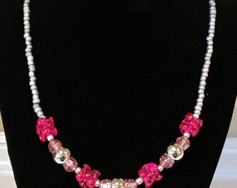 "18"" Lipstick! - pink & silver"