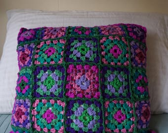 Handmade Crochet Cushion Cover / Grannie Squares