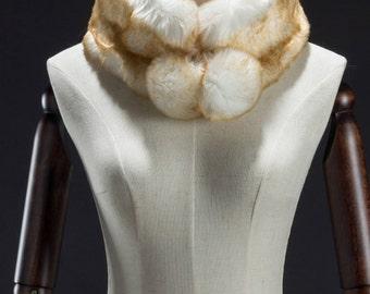 Cream Faux Fur Muffler, Neck Wrap, Ball End Muffler, Faux Fur Wrap