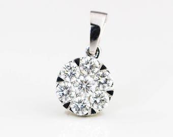 7.95mm, 7 stones pendant, 18K White gold, diamonds