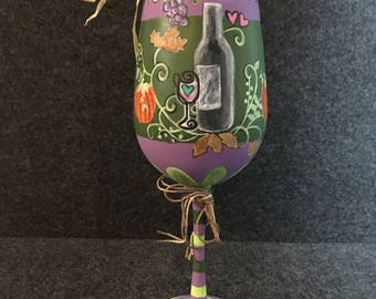 Hand Painted Whimsical Harvest Wine Glass – Purple & Green, Handmade Whimsical Art by Amanda Johnson, unique hand painted crafts, home decor