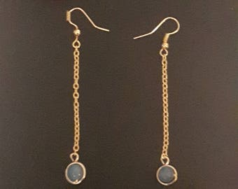 Brass earrings, amazonite.