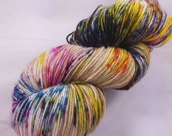 "Hand Dyed Superwash Merino Nylon Sock Yarn, 100g, ""Coastal Blooms"""