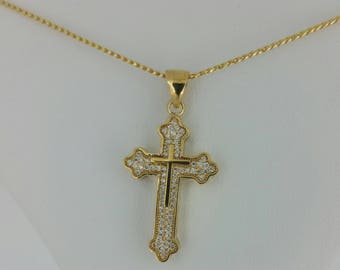 14KT Yellow Gold and .50ctw Diamond Cross Necklace