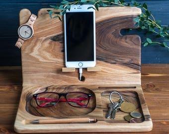 Eco Wood Organizer,Docking Station,Anniversary gift men,Nightstand organizer,Glasses holder,Charging dock,Wooden phone stand,Husband gift
