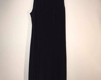Long Black Velvet 90's Strappy Dress
