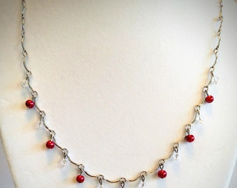 """18"""" silver tone red & clear beaded necklace"""
