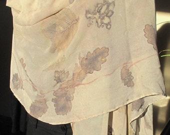 Eco Print scarf in silk georgette