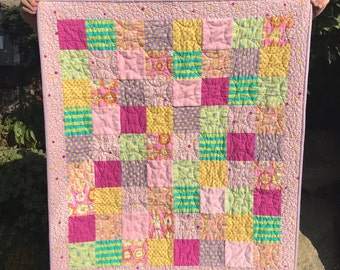 Handmade Baby Quilt, pinks and greens