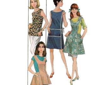 60s uncut Wraparound Dress pattern Full Apron Pattern Pinafore pattern vintage 32-25-34 Sundress pattern Mccalls 8818