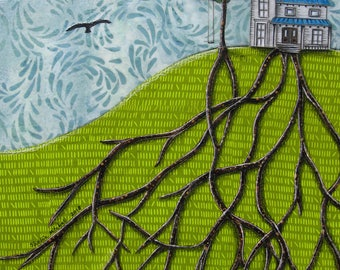 Home decor, white farm house, we put down roots, unisex gifts, house on a hill, blackbirds flying, Original artwork, Fabric on Wood art box