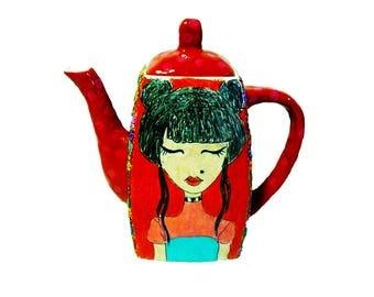 Saddler teapot, Design teapot, kitchen, serving Teapot, Home decor, Kitchen art, Kitchen decor, porcelain Teapots, hand painted teapot