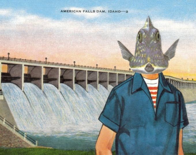 Funny Fish Boy Art Postcard, Idaho Artwork