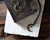 The Lunar Goddess Necklace - Ornate Cresent Moon Necklace - Bronze Star and Moon Necklace - Make A Wish - Leather Moon Choker - Celestial