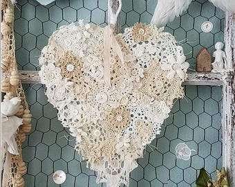 Crochet Doily Heart, Doily Heart, Holiday Wall Hanging, Wire Heart, Heart Wreath, Christmas Decor, Winter Wedding, Nursery Shabby Chic Heart