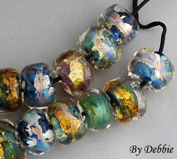 Lampwork Beads Glass Beads Jewelry Set Organic Beads Beaded Bracelet Bead Necklace Beach Jewelry Nugget Beads Beading Debbie Sanders