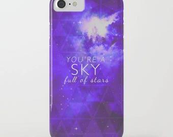 iphone case-galaxy design-typography-song lyrics-love-inspiring words-stars-night sky-purple and white-samsung phone cover-geometric-gift