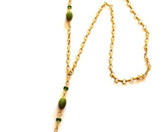 Black Gold Y Necklace / Long Gold Y Necklace / 14k Gold Chain Green Onyx Gems / Asymmetric Black Onyx Gemstone Pendant Statement Necklace
