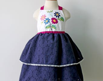 Vintage Flower Embroidered Dress, Girls Embroidered Dress, Toddler Embroidered Dress, Girls Birthday Dress, Navy Dress, Flower Birthday