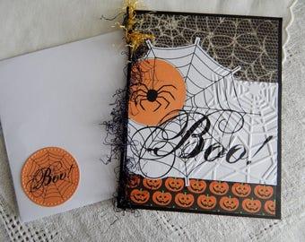 Handmade Halloween Card:  spider, web, greeting card, orange, black, humor, friend, wicked, complete card, handmade, balsampondsdesign