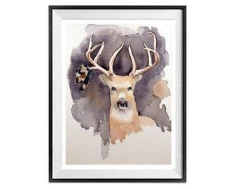 Deer Paintings | Deer Wall Art | Deer  | Deer Art prints | | Deer Drawings | Deer Illustrations | Animal Art | LaBerge