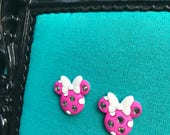 CLEARANCE SALE // Minnie Mouse Pink Rhinestone Earrings // Glittery Bow // Disney Inspired Jewelry / OOPS pair - Ready to Ship