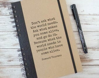 Quote Journal Graduation Gift for Him Writing Journal Notebook Positive Inspiration Boyfriend Gift Birthday Gift Howard Thurman HT3