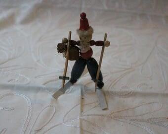 SALE! Prices as Listed~Vintage Wood Santa on Skis