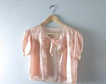 Vintage Satin Bed Jacket | 1930s Peach Satin Embroidered Bed Jacket | 30s Lingerie