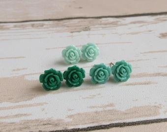 Dainty Rose Stud Earrings - Green, Turquoise, Baby Blue, Flower Girl Earrings, Resin Rose, Stainless Steel Post