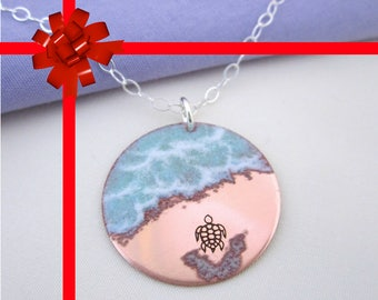 Almost There - Sea Turtle Necklace in copper - gift for women, gift for her, gift idea, handmade necklace, gift with meaning beachwear