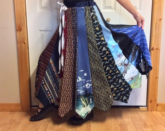 Neckties Skirt made from Mens Ties/Long Silk Skirt/Golf Fishing Animal Prints/Hippie Gypsy/Upcycled Recycled Repurposed/Womens Size M-L-XL
