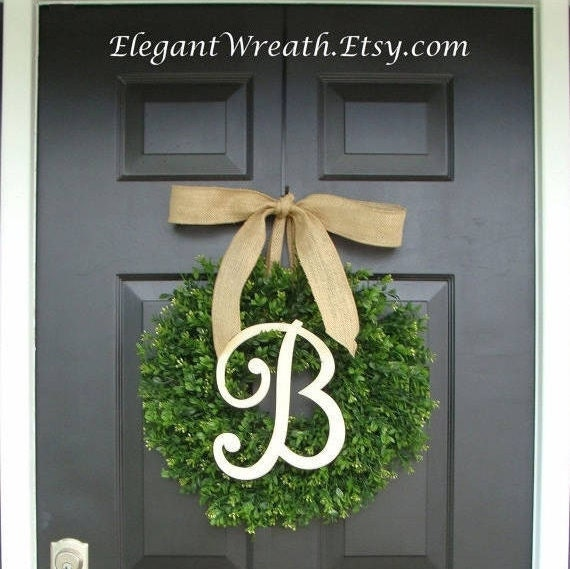 Faux Boxwood Wreath, Monogram Wreath, Outdoor Door Wreath, Fall Wreaths, Year Round Wreath, Spring Wreath