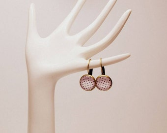 Crystal Clear Glass White With Black Polka Dots Earrings; Antique Brass/Bronze Earwires