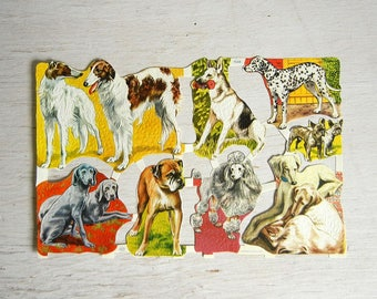 Vintage Paper Scraps Dogs Puppies | Poodle Dalmation Boxer Shepherd Dogs | Cut Scrap | Embossed Diecut Scrap | MLP 1548
