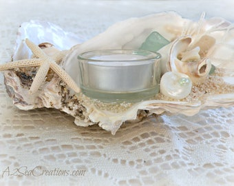 Coastal Decor - Tealight Holder - Oyster Shell & Starfish