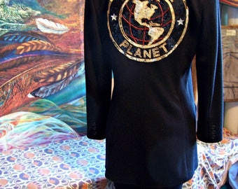 SAVE the PLANET, Black, Long Jacket, Blazer, Coat, size M/L