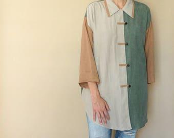 vintage 90s COLORBLOCK oversized NEUTRAL tone blouse S-L